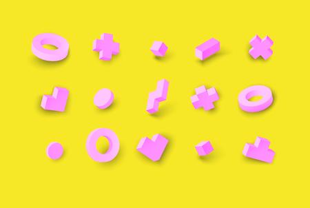 Pink geometric figures isolated on yellow background. Vector isometric illustration. Ilustração