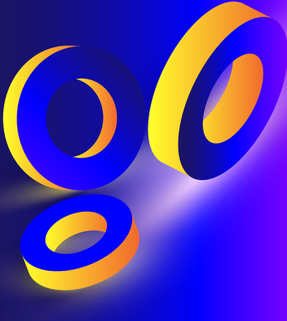 Yellow shiny geometric 3d rings on blue background. Vector illustration.