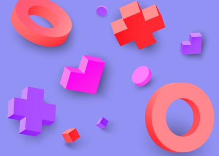 Purple background with colour 3d geometric figures pattern. Vector illustration.