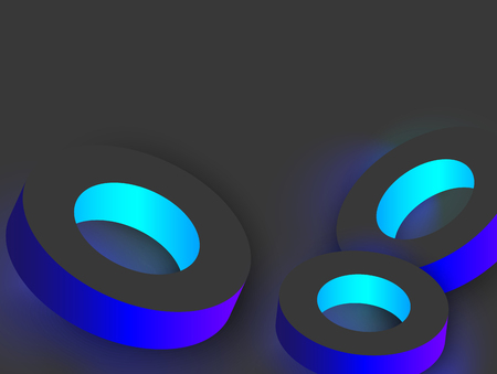 Blue shiny geometric 3d rings on grey background. Vector illustration.
