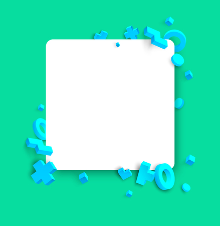 Green background with white square frame and blue 3d geometric figures. Vector illustration.