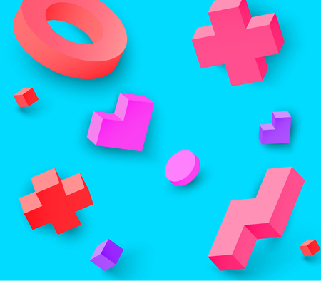 Blue background with colour 3d geometric figures pattern. Vector illustration.