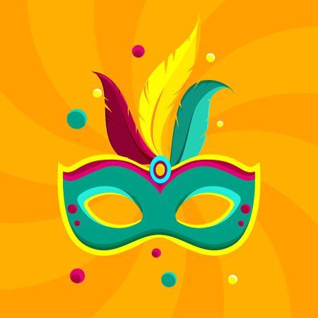 Orange festive carnival background with bright colour mask. Vector illustration. Illustration