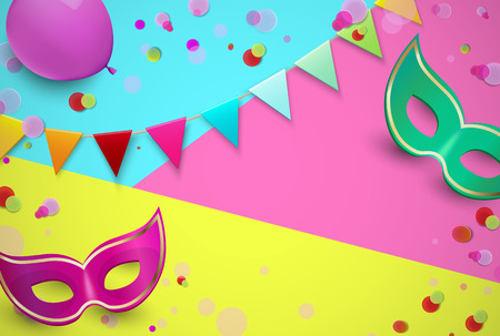 Bright carnival background with colorful masks, flags and confetti. Vector illustration.