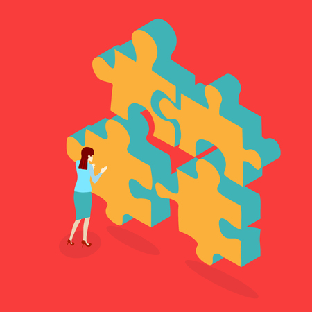 Red background with puzzle and woman solves problem. Vector illustration.