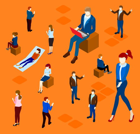 Orange background with isolated working office people. Vector illustration.