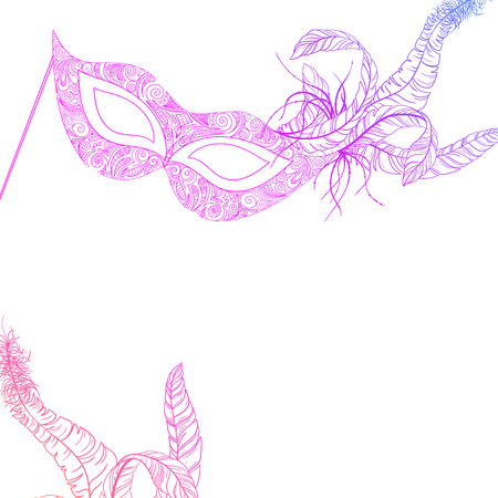 White carnival background with pink mask and feathers. Vector paper illustration. Illustration