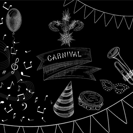 Black carnival background with white mask, flags and music. Vector illustration. Illustration