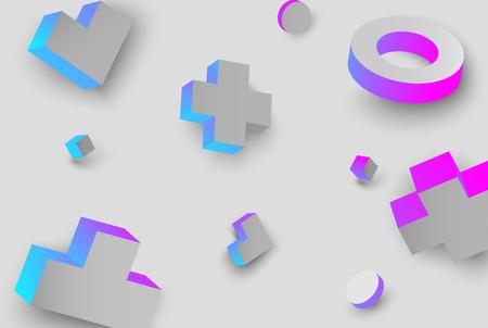 Grey background with blue and pink 3d geometric figures pattern. Vector illustration. Ilustração