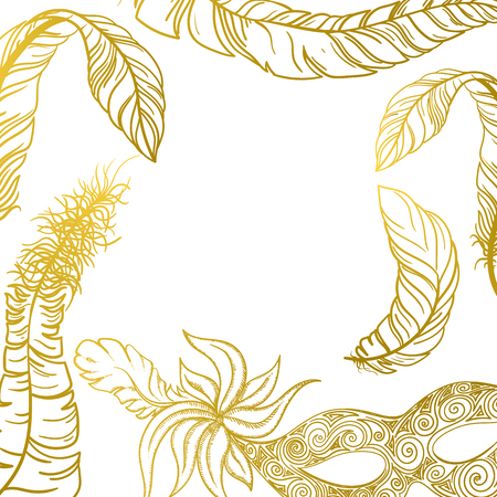 White carnival background with gold mask and feathers. Vector paper illustration.