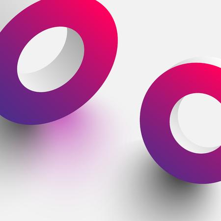 Pink spectrum geometric 3d rings on white background. Vector illustration. Ilustração
