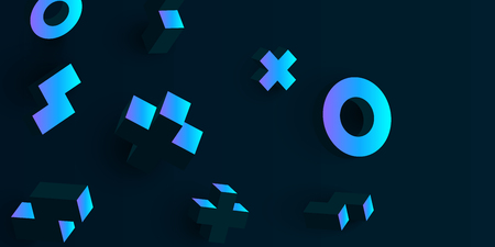 Black background with blue rotating 3d geometric figures. Vector illustration.