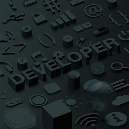 fondo negro del hexágono 3d con símbolos de la web. ilustración vectorial