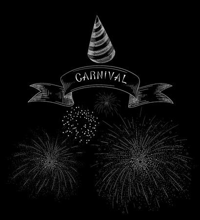 Black carnival background with fireworks. Vector illustration. Illustration