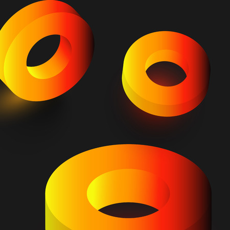 Orange shiny geometric 3d rings on grey background. Vector illustration.