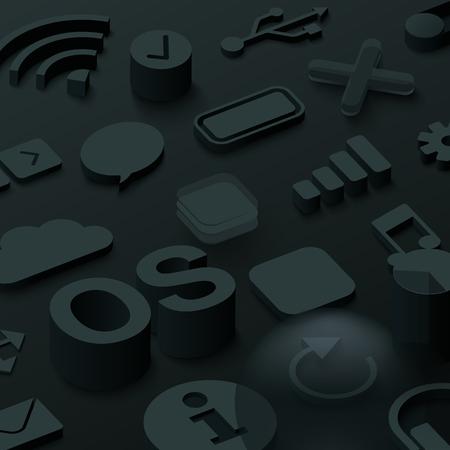 Black 3d operating system background with web symbols. Vector illustration.