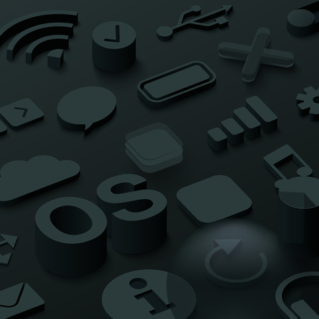 Black 3d operating system background with web symbols. Vector illustration. Illustration