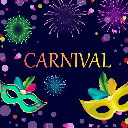 Purple carnival background with bright colour masks and fireworks. Vector illustration. Çizim