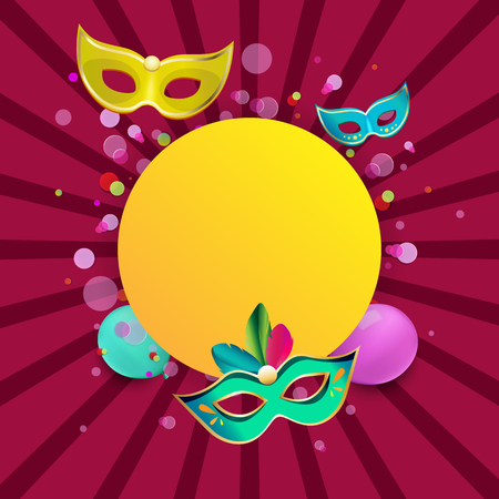 Pink and yellow round carnival background with colour masks and balloons. Vector illustration. Illustration