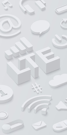 Grey 3d LTE background with web symbols. Vector illustration.