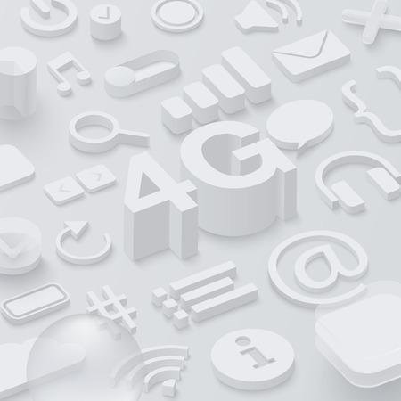 Grey 3d 4G background with web symbols. Vector illustration. Illustration