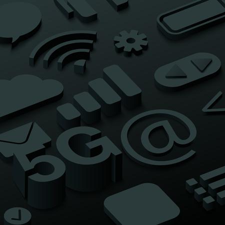 Black 3d 5G background with web symbols. Vector illustration.