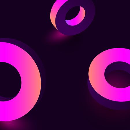 Pink shiny geometric 3d rings on purple background. Vector illustration. Ilustração