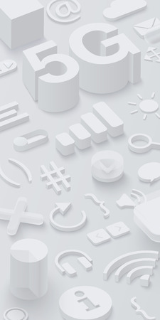 Grey 3d 5G background with web symbols. Vector illustration.