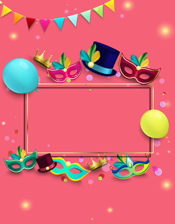 Pink carnival background with frame, colour masks and confetti. Vector illustration.