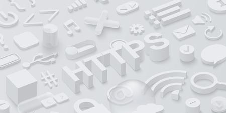 Grey 3d htpps background with web symbols. Vector illustration.
