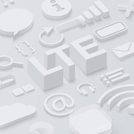 Grey 3d LTE background with web symbols. Vector illustration.