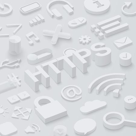Grey 3d htpps background with web symbols. Vector illustration. Illustration