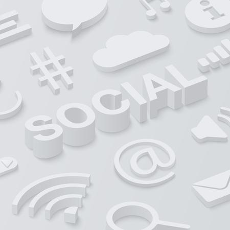 Grey 3d social background with web symbols. Vector illustration.  イラスト・ベクター素材