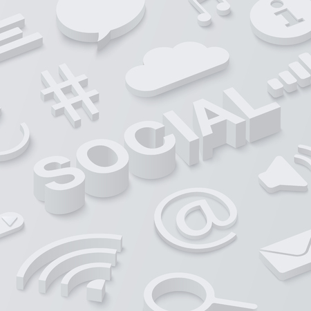 Grey 3d social background with web symbols. Vector illustration. Ilustração
