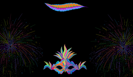 Black carnival background with bright colour mask and fireworks. Vector illustration.