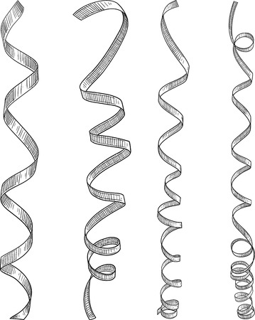 Set of decorative ribbons sketch isolated on white background. Vector paper illustration.