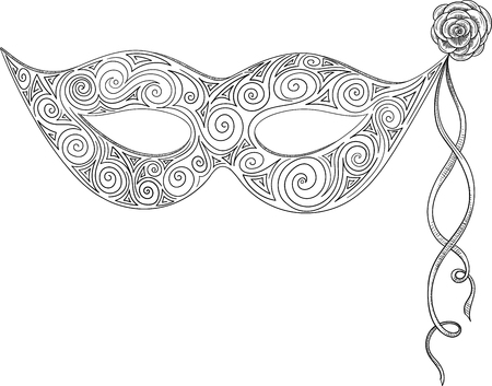Black carnival mask sketch isolated on white background. Vector paper illustration.