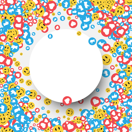White round background with likes, hearts and yellow smileys signs. Vector illustration.
