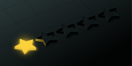 Black worst rating background with one gold star. Vector illustration.