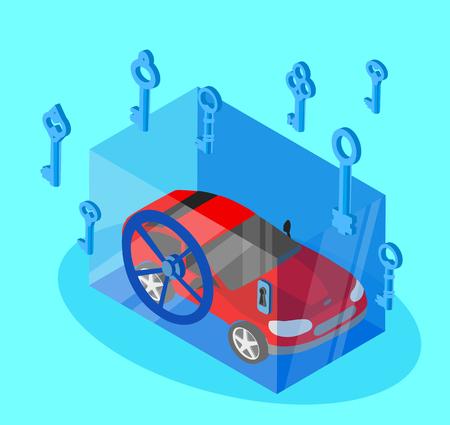 Red car locked in safe on blue background. Vector illustration. Illustration