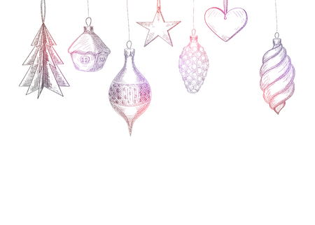 White background with hand-drawn Christmas decoration sketch. Vector paper illustration.  イラスト・ベクター素材