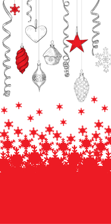 Red and white background with snowflakes and Christmas decoration. Vector illustration.