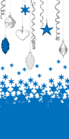 Blue and white background with snowflakes and Christmas decoration. Vector illustration.