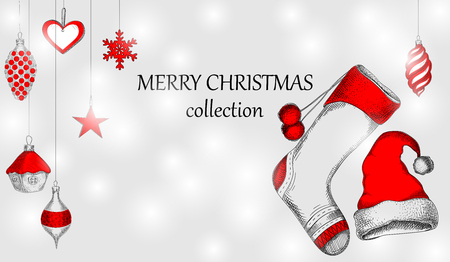 Merry Christmas collection blurred background with red decoration. Vector paper illustration.