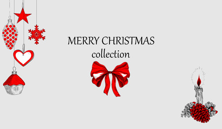 Grey Merry Christmas collection background with red decoration. Vector paper illustration. Illustration
