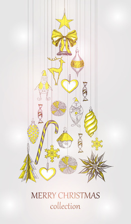 Merry Christmas collection background with yellow Christmas tree. Vector paper illustration.