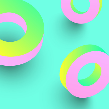 Pink spectrum geometric 3d rings on green background. Vector illustration.