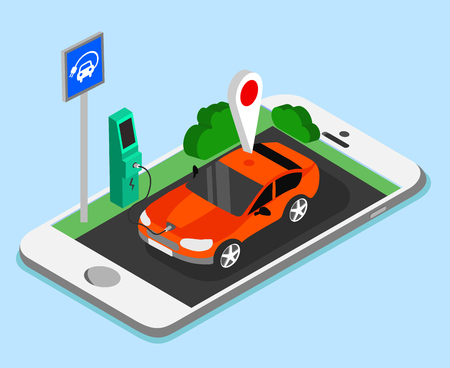 Electric car charging and smartphone app on blue background. Vector illustration. 向量圖像