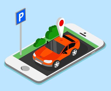 Car parking smartphone app on blue background. Vector illustration.