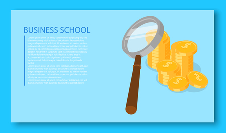 Business school blank template. Blue background with dollar coins. Vector illustration. Ilustrace